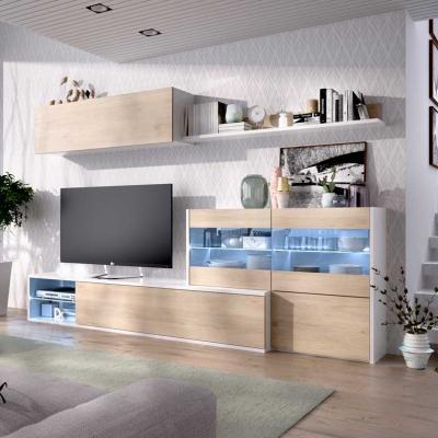 Salon Tv con  Vitrina y leds en rinconera de 180 x 201/260 modelo UMA en Blanco Brillo/Natural. - Imagen 1