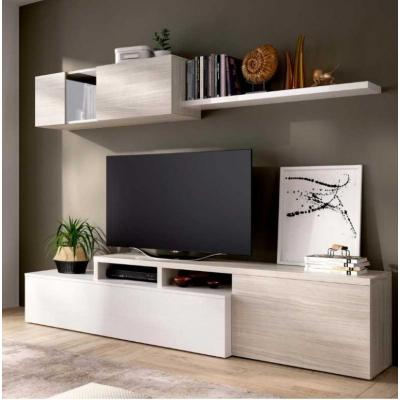 Salon Tv Compacto 180 x 200 modelo ELLE color Blanco Brillo / Gris. - Imagen 1