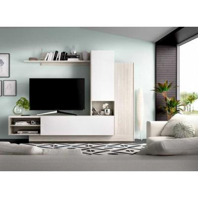 Salon Tv Compacto 168 x 218 modelo ELM color Gris / Blanco Brillo. - Imagen 1