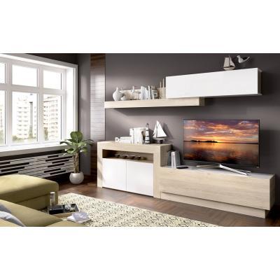 Salon Tv con puertas y módulos horizontales Modelo ENNA de 180 x 261 color Natural / Blanco Brillo. - Imagen 1