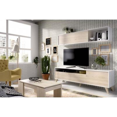 Salon Tv Compacto de 180 x 180 Modelo BONN color Blanco Brillo / Natural - Imagen 1