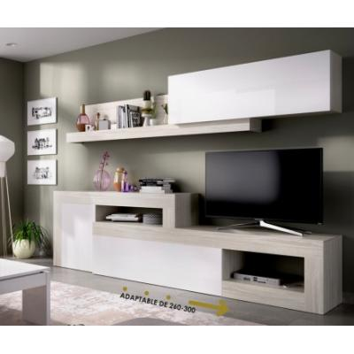Salon Tv Modular Modelo LEBO de 180 x 260 / 300 color Gris / Blanco Brillo. - Imagen 1
