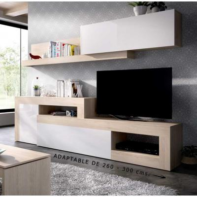 Salon Tv Modular Modelo LEBO de 180 x 260 / 300 color Natural / Blanco Brillo. - Imagen 1