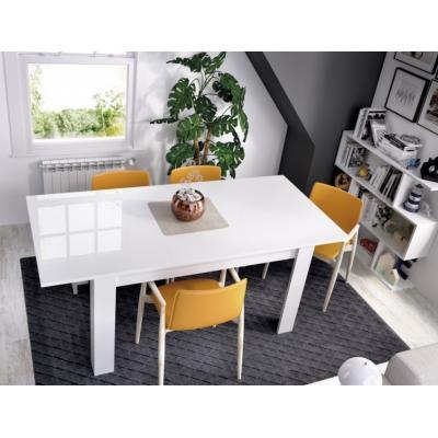 Mesa Comedor Modelo DINE de 77 x 90 X 140 / 190 color Blanco Brillo - Imagen 1