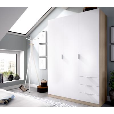 Armario 3 puertas 3 cajones modelo ESSEN de 184 x 121 x 52 en color Natural / Blanco. - Imagen 1