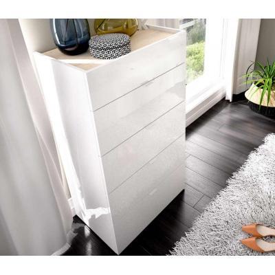 Comoda 5 cajones modelo GIA de 107 x 60 x 39 en color Blanco Brillo / Natural. - Imagen 1