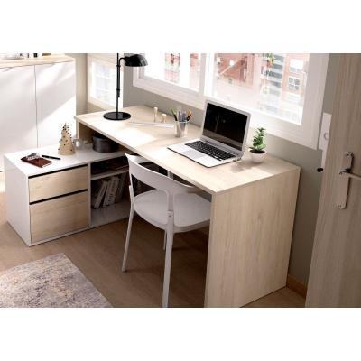 Mesa Escritorio L de 75 x 139 x 92 modelo ROX en color Natural / Blanco Brillo - Imagen 1
