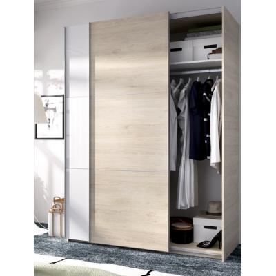 Armario 2 puertas corredera de 150 cm modelo SLIDE de 204 x 150 x 65 en color Blanco Brillo / Natural - Imagen 1