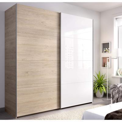 Armario 2 puertas corredera de 180 cm modelo SLIDE de 204 x 180 x 65 en color Natural / blanco brillo - Imagen 1