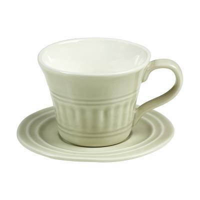 Taza con plato abitare beige - Imagen 1