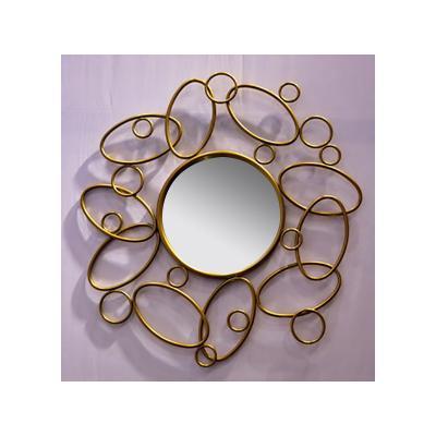 Espejo redondo dorado - Imagen 1