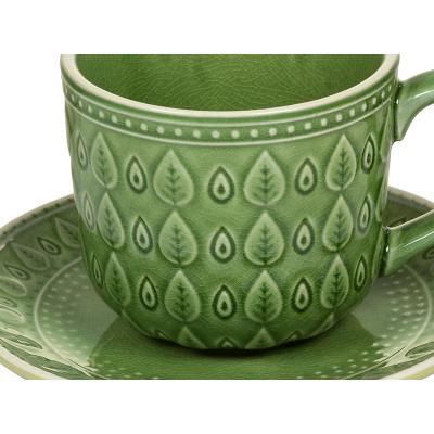 Taza cafe + plato natural verd - Imagen 2