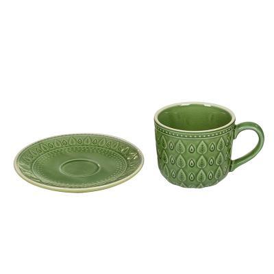 Taza cafe + plato natural verd - Imagen 3
