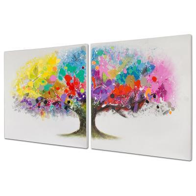 Set 2 cuadros árbol colores - Imagen 1
