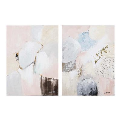 Set 2 cuadros óleo rosa - Imagen 1