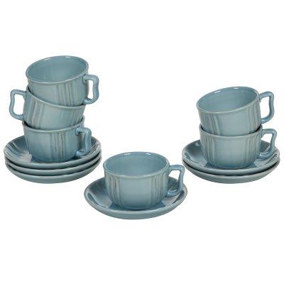 Juego de 6 tazas de loza azul - Imagen 1