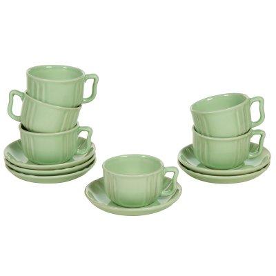 Juego de 6 tazas de loza verde - Imagen 1