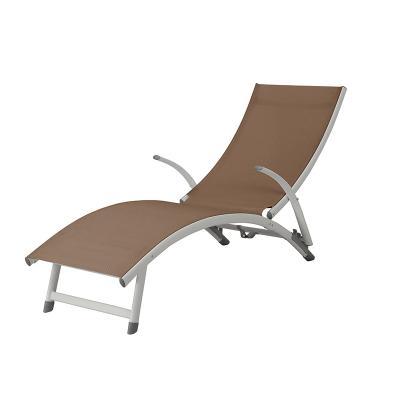 Tumbona aluminio marrón - Imagen 1