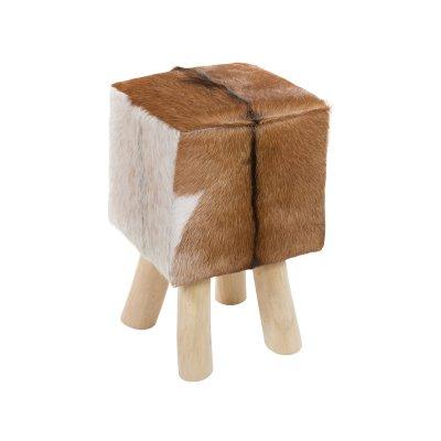 Taburete de madera y piel - Imagen 1