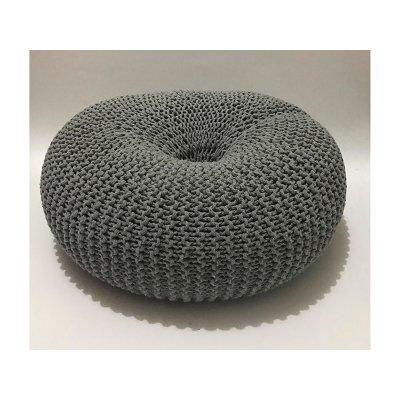 Puff trenzado gris - Imagen 1