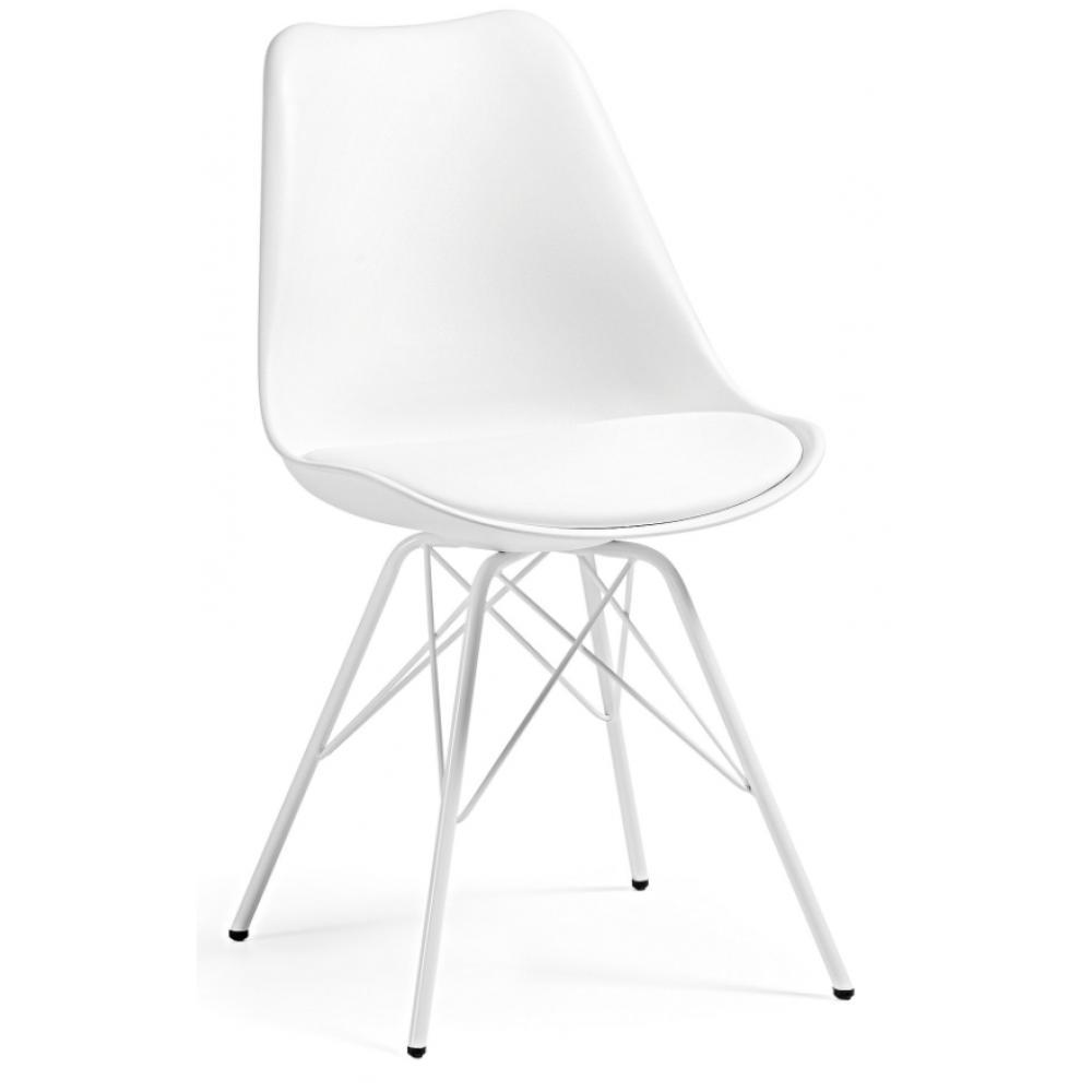 Silla Comedor Lars Estructura de Metal Color Blanco | Mobelfy