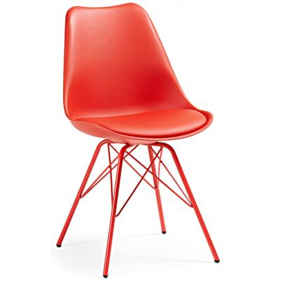 Silla Comedor Lars Estructura de Metal Color Rojo - Imagen 1