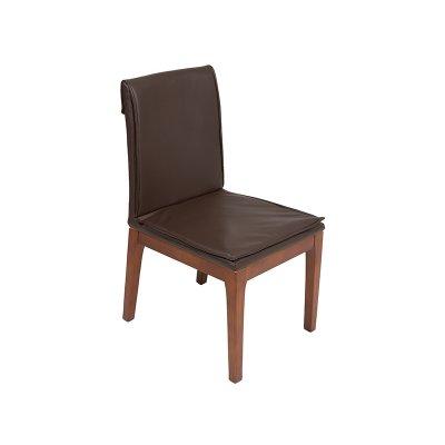 Silla marrón con patas madera - Imagen 1