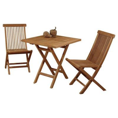 Mesa cuadrada + 2 sillas teca - Imagen 1