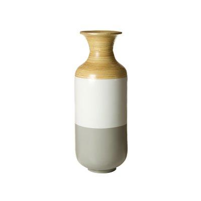 Jarrón bambú gris y blanco - Imagen 1