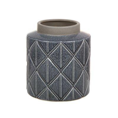Jarrón de cerámica gris oscuro - Imagen 1
