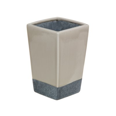 Jarrón cerámica beige y gris - Imagen 1